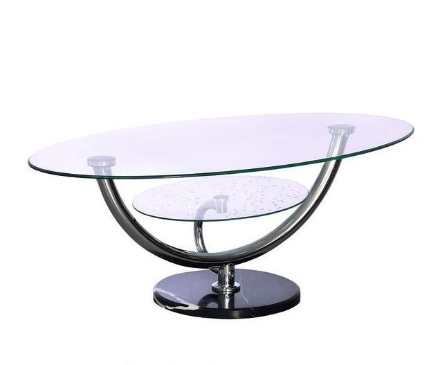 Журнальный стол A-221 каркас хром, основание - каменное Чёрный, прозрачное закаленное стекло.