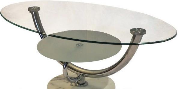Журнальный стол A-221 каркас хром, основание - каменное Белый, прозрачное закаленное стекло.