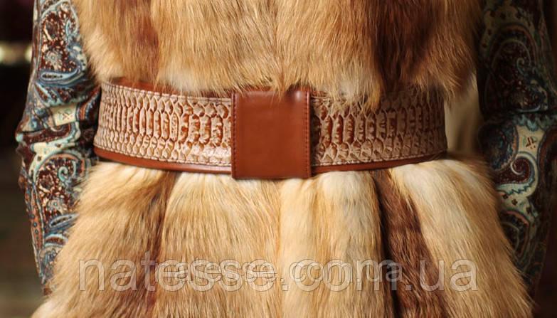 Пояс кожаный под питона с кожаной рыжей пряжкой