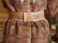 Пояс кожаный под питона с кожаной пряжкой