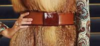 Пояс кожаный рыжий с кожаной лаковой пряжкой
