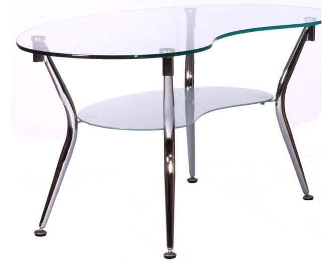 Журнальный стол KSD-CT-006 каркас хром, прозрачное закаленное стекло.