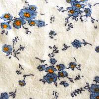 Трикотажное полотно велюр хб/пэ, цветы на молочном