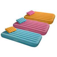 Надувной детский велюровый матрас с подушкой Intex 66801 157*88*18см (зеленый, оранжевый, голубой цвет)