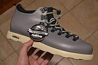 Зимние кроссовки в стиле Native Shoes Fitzsimmons серые кожа термопрокладка, фото 1