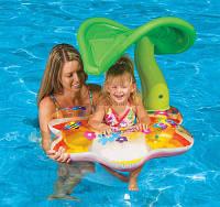 Надувной круг с навесом Тропики Intex 56577 142х74см, детский круг-плотик, плотик для купания