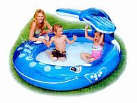 """Детский надувной бассейн с фонтаном """"Веселый кит"""" Intex 57435, бассейн для детей 208*157*99см"""