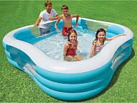 """Семейный квадратный надувной бассейн Intex 57495, надувной бассейн для детей """"Акварена"""" 229*56см"""