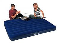 Надувной велюровый матрас Classic Downy Bed Intex 68755, ортопедический двухспальный матрас 203*183*22см