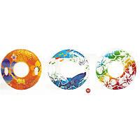 Надувной круг для для плавания Intex 58263 97см, надувной круг с ручками, яркий круг для плавания