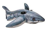 """Детский плотик для плавания """"Акула"""" Intex 57525 173*107см, надувной плотик, надувная игрушка акула"""