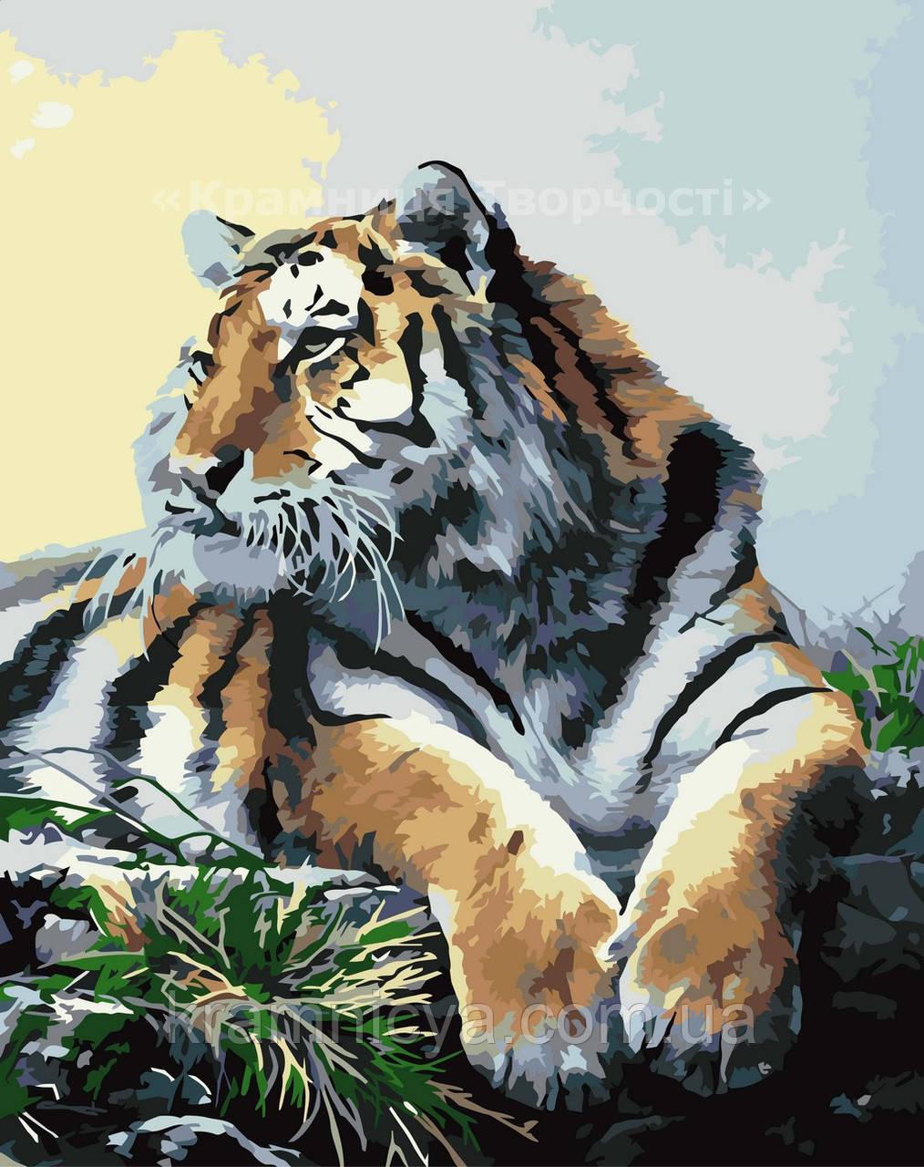 Картина по номерам без упаковки Гордый тигр, 40х50см. (КНО2460)