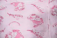 Распашонка с начесом р.62 Рукавичка  Габби 0311 р.62 розовый зайцы