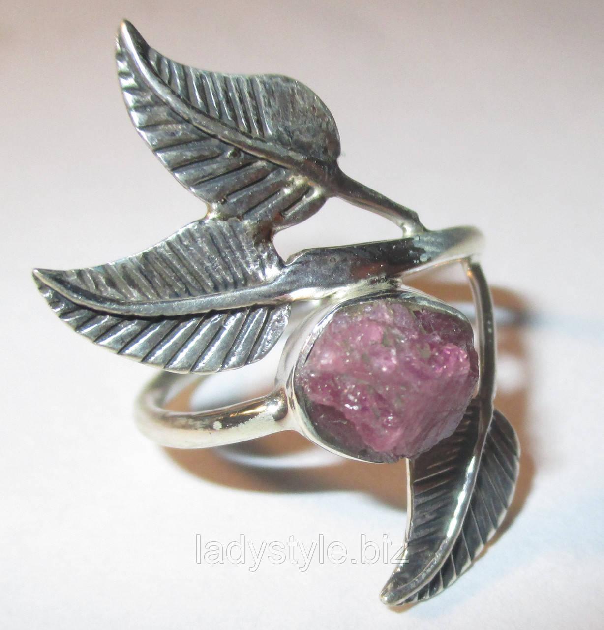 "Серебряное колечко с розовым турмалином ""Роза"", размер 17,8"
