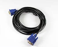 Шнур VGA 5м, шнур vga для монитора, кабель переходник VGA