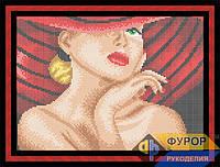 Схема для вышивки бисером - Девушка в красной шляпе, Арт. ЛБп4-015