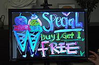 Светодиодная маркерная доска Led Fluorescent Board 40*60см (в наборе  маркер, контроллер, адаптер)