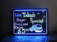Неоновая светодиодная доска Led Fluorescent Board 50*70см (в наборе  маркер, контроллер, адаптер)