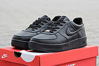 Женские кроссовки Nike Air Force черные / кроссовки женские Найк Аирфорс, зимние, стильно выглядят вживую