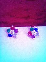 Серьги серебряные гвоздики детские цветочки разноцветные