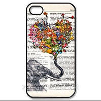 Чехол для iPhone 4 и 4s Слоник на газете