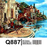 """Q887 """"Уютная терасса"""" Роспись по номерам на холсте 40х50см"""