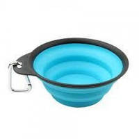 Дорожная миска складная с карабином для собак и кошек Dexas Collapsible Travel Cup-Large, 480 мл, голубая