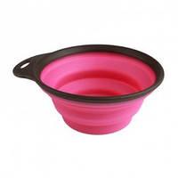 Дорожная миска складная с карабином для собак и кошек Dexas Collapsible Travel Cup-Largе, 480 мл, розовая
