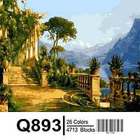 """Q893 """"Особняк с видом на море"""" Роспись по номерам на холсте 40х50см"""