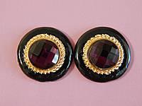 Серьги в виде круга, с фиолетовым камнем