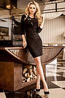 Нарядное  Красивое Стильное Платье из Замши Черный р.42-48