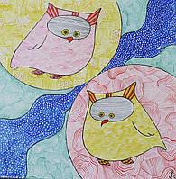 Картина акриловыми красками ,,Совушки,,.