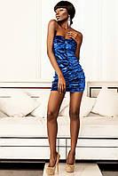 Праздничное Нарядное Бархатное Платье на Стрейчевой Основе Синее р.42-46