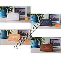 Часы-будильник светодиодные настольные под дерево Wooden Clock с термометром Призма модель 1300, фото 1