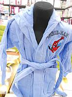 Детский махровый халат Spider - Man голубой Турция