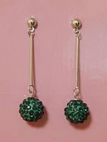 Серьги «шарики» зеленые