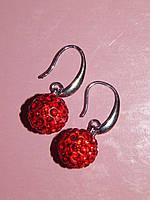 Серьги «шарики маленькие» красные