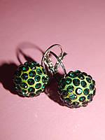 Серьги «шарики большие» зеленые