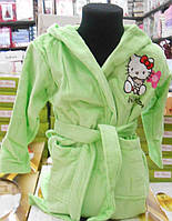 Детский махровый халат Hello Kitty зеленый Турция