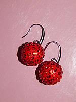Серьги «шарики большие» красные