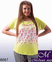 Легкая женская футболка с принтом  (ун. 48-54) арт. 8667