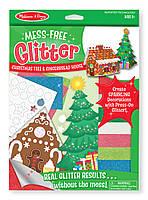 """Объемные блестящие наклейки """"Рождественская елка и пряничный домик"""""""