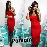 Женское стильное гипюровое платье с чашками (3 цвета), фото 1