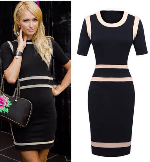 Платье черно-белое оптом D5205
