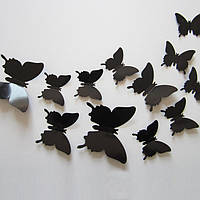3D бабочки чёрные на стену (22шт)
