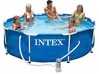 Бассейн  каркасный Intex 28212 (56996) Metal Frame Pool (366 х 76 см) + фильтрующий картриджный насос