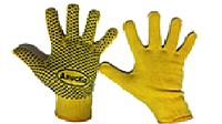 Перчатки Х\Б с ПВХ точкой желт.зелен. Алиска