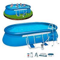 Бассейн овальный надувной Intex 28194 Oval Frame Pool (610 х 366 х 122 см) + фильтрующий картриджный насос + аксессуары