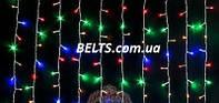 Разноцветная Гирлянда Бахрома  (новогодняя штора) 220 LED (3 м, 0,65 м.)