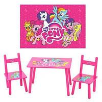 Детский столик с двумя стульчиками Маленькая Пони M 1522